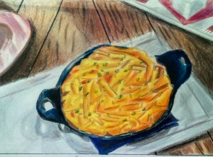 "9"" X 12"" colored pencil on paper. ""Mac and Cheese"""