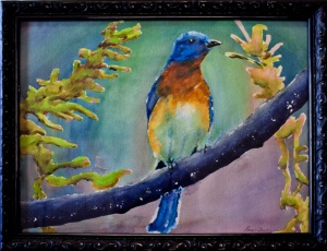 """Blue Bird"" Watercolor on paper. 12""  16"""